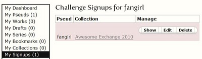 A user's challenge signups page with a link to the collection and manage links