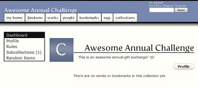 Dashboard of the Awesome Annual Challenge collection; a sidebar contains links to a subcollection, as well as to the collection's profile, rules and random items