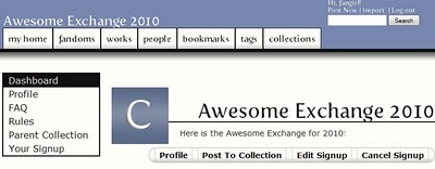 Dashboard of the Awesome Exchange 2010 collection, with Profile, Post To Collection and signup managements links