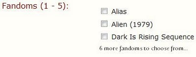 An excerpt from a signup form. The label is red and reads Fandoms (1-5); three fandoms are shown with checkboxes, with a link below to show more