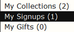 A small part of the sidebar on the user My Home page, with My Signups appearing below My Collections