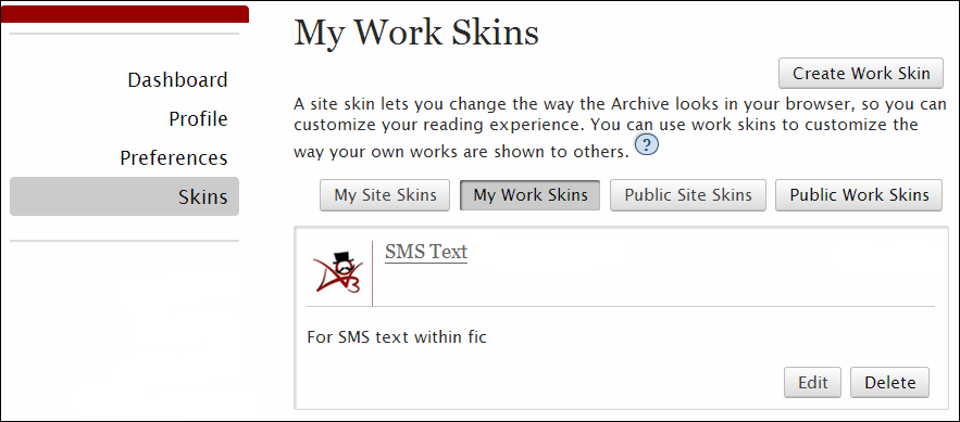 My Work Skins Page with example work skin