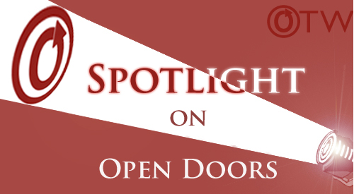 Banner by Erin of an OTW logo beamed by a spotlight over the words Open Doors