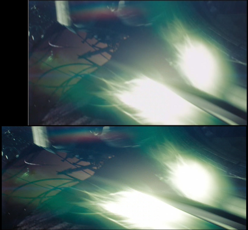 Image F: Missiles fire during the battle; top image captured by DVD CCA, lower image ripped.