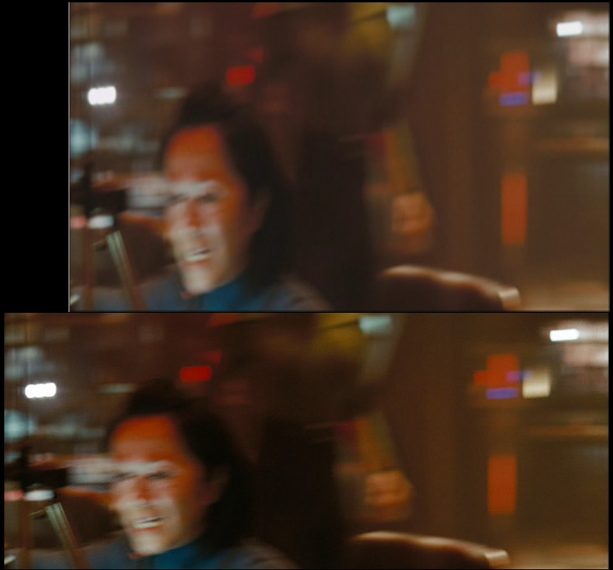 Image H: The Kelvin's helmsman reacts (first shot); top image captured by DVD CCA, lower image ripped..