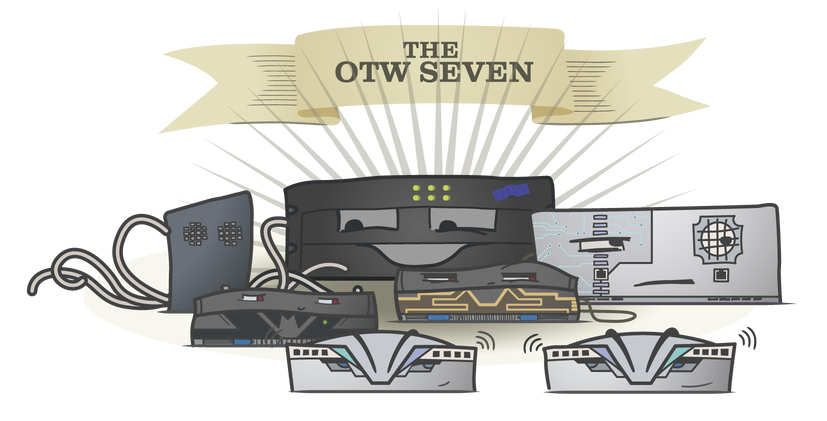 Meet the OTW 7! Cartoon-style pictures of our six servers and their trusty switch