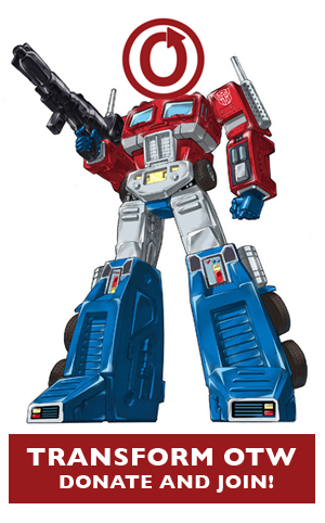 Optimus Prime with OTW logo in place of his head: 23-29 March 201 OTW Membership Drive